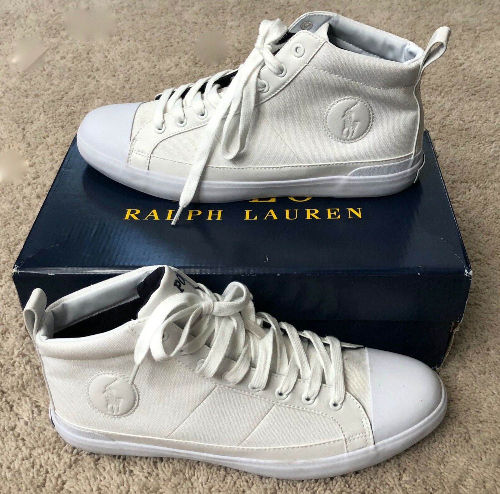 NEW IN BOX Polo Ralph Lauren Men's White Clarke High Top Canvas Sneakers 11.5