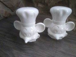Vintage Disney Chef Mickey Mouse White Salt Pepper Shakers USAl  - $19.99
