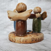 Tealight Candle Holder, Circle of Angels, Pray for Peace, Vintage Earthenware image 2