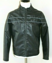 Street Legal Small Black Vegan Leather Polyvinyl Motorcycle Riding Jacke... - $42.74