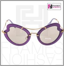 MIU MIU SCENIQUE Butterfly 11R Lilac Translucent Violet Gold Sunglasses MU11RS image 6