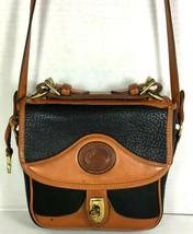 Dooney & Bourke Vtg Black Pebbled Leather Brown Trim Shoulder Bag-Distre... - $75.65