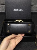 100% Auth Chanel Black Quilted Leather Top Handle Flap Bag GHW image 4