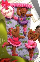 Bucilla Ballet Bears Ballerina Teddies Christmas Holiday Felt Stocking Kit 86143 - $174.95