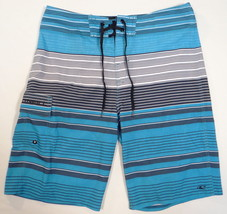 O'Neill Grenada Blue White & Black Stripe Stretch Boardshorts Mens NWT - $48.74