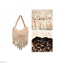 Cream Yarn Knit w Fringe & Beads Giraffe Print Lined Handbag  Bag Hag By... - $12.99