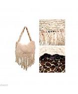Cream Yarn Knit w Fringe & Beads Giraffe Print Lined Handbag  Bag Hag By... - $12.99