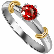 0.55 Ct Round Cut Garnet Solitaire Engagement Ring 14K 2 Tone Gold Finish - £60.30 GBP