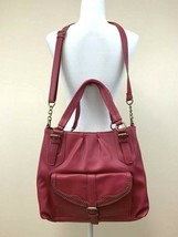 Jessica Simpson Pink Faux Leather Large Crossbody Purse Front Flap Pocket - $24.99
