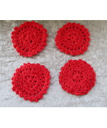 Set of Four Hand Crafted Crocheted Red Coasters - $7.95