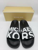 Michael Kors Gilmore Slides MK Black White Slip On Shoes Women's [Size 11] - $54.44