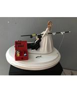 Cake Topper Wedding Bridal Bride Groom Going Gone Fishing Theme Grooms Cake - $60.99