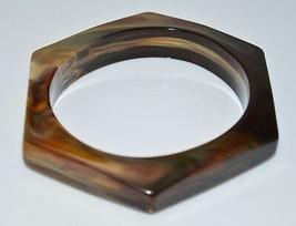 VTG Brown Cream Marbled Lucite Hexagon Bangle Bracelet - $39.60