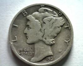 1931 MERCURY DIME FINE / VERY FINE F/VF NICE ORIGINAL COIN BOBS COIN FAS... - $11.00