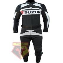 SUZUKI GSX-R BLACK MOTORBIKE MOTORCYCLE BIKER COWHIDE LEATHER ARMOURED 2... - $339.99