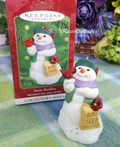Hallmark Snow Buddies ornament 2000 snowman with redbird - $12.62