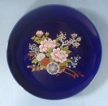 Vintage Japanese porcelain plate cobalt blue flower cart  made in Japan ... - $15.01