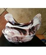 vintage Glass Hen On Nest Ruby Marble Slag - $9.89
