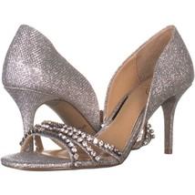 Jewel Badgley Mischka Jean Stiletto Heels 154, Silver, 7.5 US - $22.07