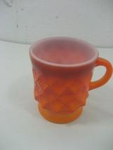 Vintage Orange Anchor Hocking Fire King Kimberly Diamond Pattern Coffee ... - $4.90