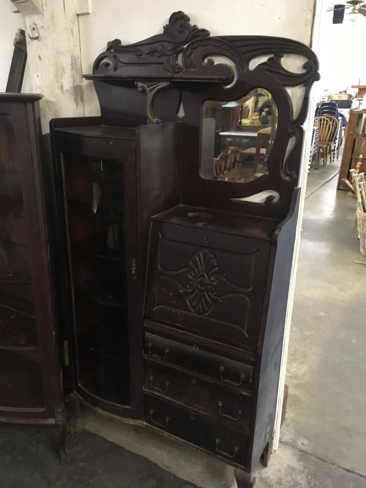 Antique Rockford Union Furniture Side By Secretary Desk Bookcase Cabinet