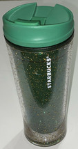 Starbucks 2009 Clear Green With Gold Glitter Acrylic Tumbler Cup 12oz UL... - $29.16