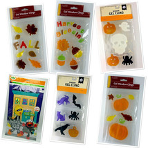 Window Gel Clings Halloween Fall Autumn Leaves Pumpkins Harvest - $6.92+