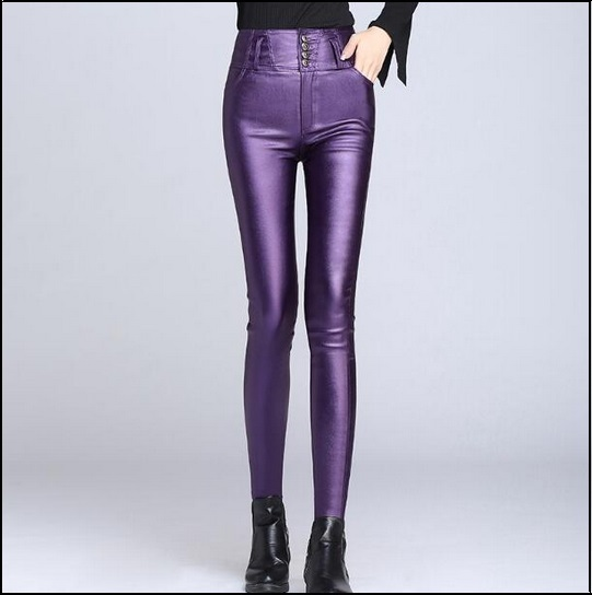 Purple Stretch Faux Leather High Waisted Button Up Skinny Pencil Trousers