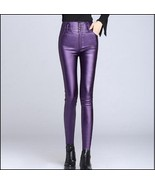 Purple Stretch Faux Leather High Waisted Button Up Skinny Pencil Trousers - $62.95