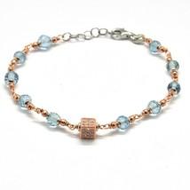 Bracelet en Argent 925 Laminé en or Rose avec Aigue Marine et Zirconia C... - $98.99
