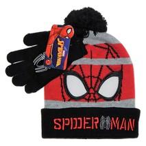 Spiderman Marvel Premium Strick Wintermütze & Handschuhe Set Mit / Pom-Pom - $15.89