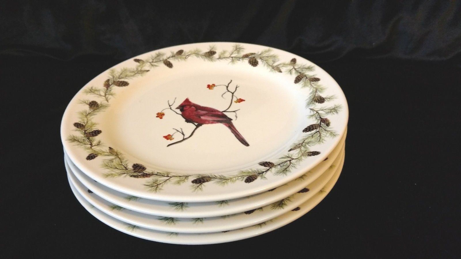 "Primary image for 4 (Four) 8"" Sonoma Home Goods Red Cardinal Pattern Salad Plates NEW CONDITION"