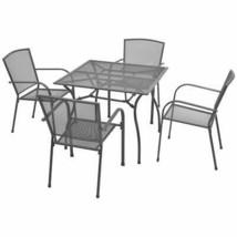 vidaXL 5 Piece Outdoor Bistro Set Steel Mesh Garden Table Stacking Chair... - $272.99