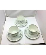 Johann Haviland BLUE GARLAND  3 Tea Cups and Saucers, Bavaria Germany - $44.55