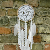 Small crochet boho dreamcatcher, Rustic wedding decor, White crochet dre... - $40.00