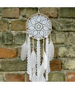 Small crochet boho dreamcatcher, Rustic wedding decor, White crochet dre... - $40.00
