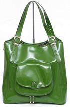 TED BAKER LONDON Green Faux Patent Leather Shoulder Bag Zipper Large Gol... - $90.25