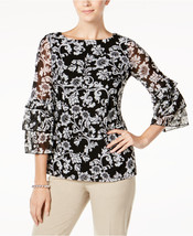 Charter Club Floral-Print Ruffled-Sleeve Mesh Top in Black, Small - $28.70