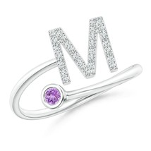 Capital M Diamond Initial Ring with Bezel-Set Amethyst 14k Gold Size 3-13 - $674.10
