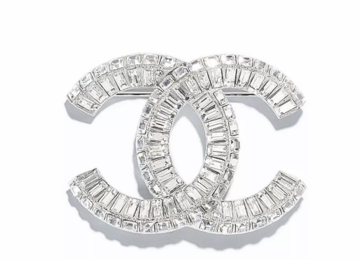AUTHENTIC CHANEL Baguette Crystal Large CC SILVER Brooch Pin MINT
