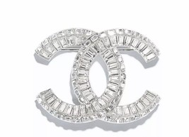 AUTHENTIC CHANEL Baguette Crystal Large CC SILVER Brooch Pin MINT - $599.99