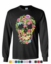 Flower Skull Long Sleeve T-Shirt Sugar Skull Calavera Dia de los Muertos... - $11.08+