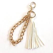 Leather Tassel Keychain, Gold Key Chain Wristlet, White Faux Leather Tassel
