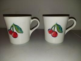 Pair of Vintage Corning Ware Tea/Coffee Mugs Apples and Cherries Pattern - $9.99