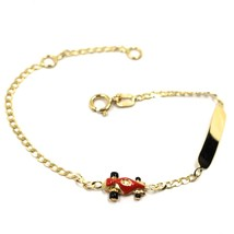 18K YELLOW GOLD KID CHILD BRACELET ENAMEL RACING CAR GOURMETTE ENGRAVING... - $178.38