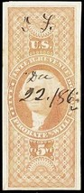 R92a, Used VF-XF $5 Probate Will Revenue Stamp Cat $900.00 - Stuart Katz - $350.00