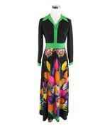 Black green floral long sleeve vintage maxi dress 10 S - $79.99