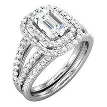 Emerald Cut Sim Diamond Womens Wedding Bridal Ring Set 925 Sterling Solid Silver - $94.99