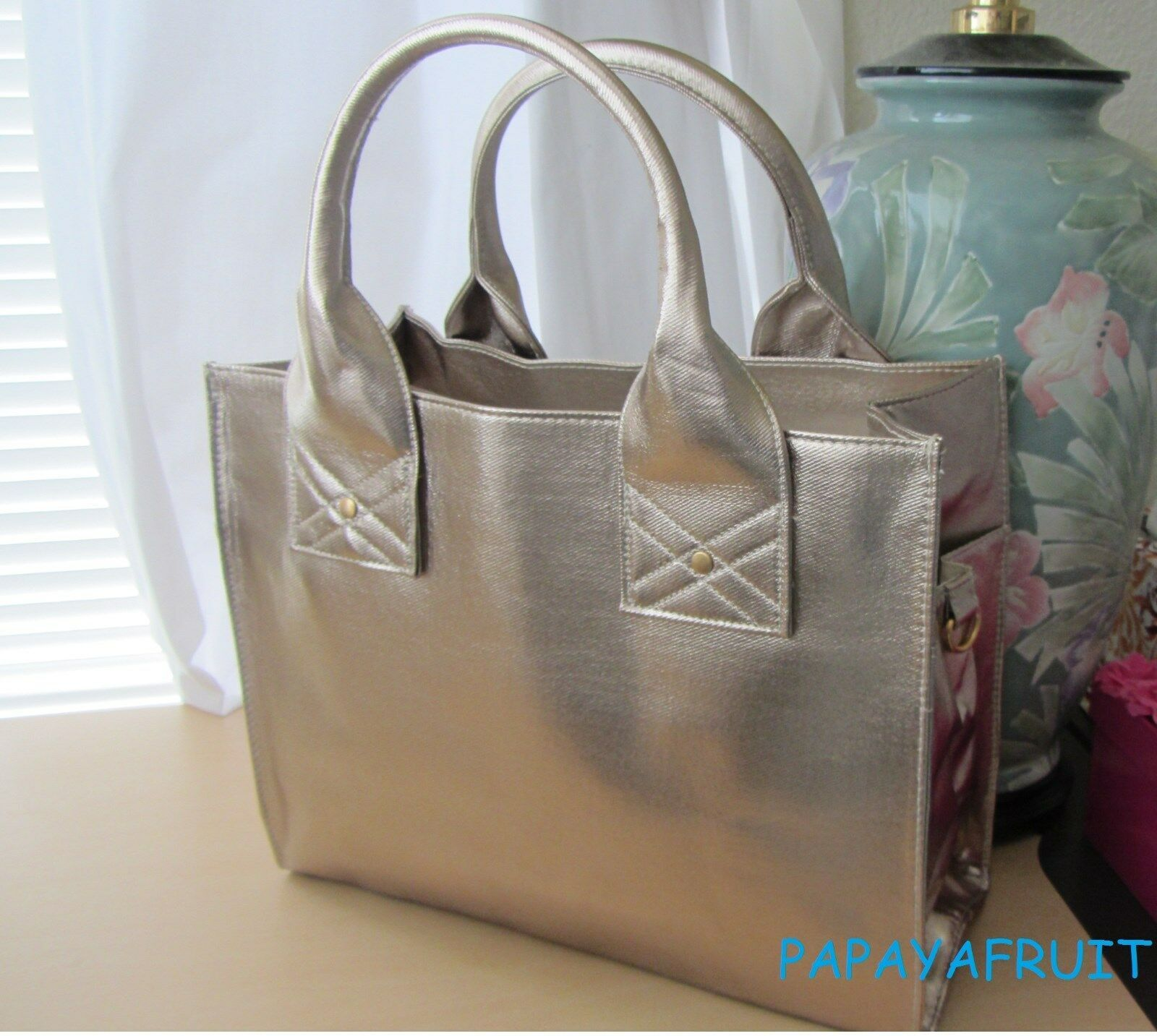 Primary image for Lancome Champagne Gold Structured Tote Bag w/ side hook rings for shoulder strap