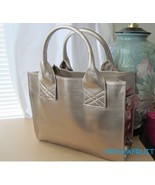 Lancome Champagne Gold Structured Tote Bag w/ side hook rings for should... - $23.75